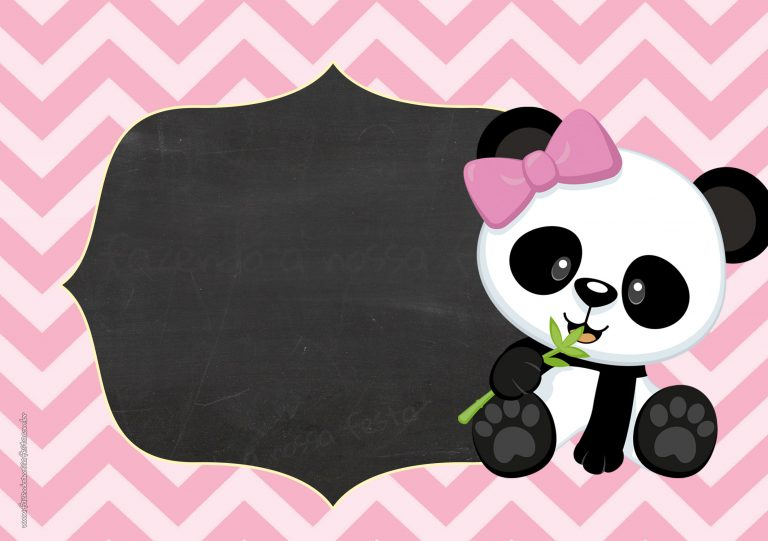Convite Tema Panda Rosa Menina - Fazendo a Nossa Festa