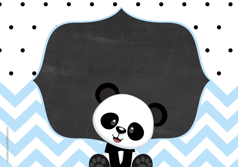Convite para Festa 03 Panda Menino Azul