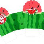 Caixa Cupcake Melancia Personalizados para Imprimir