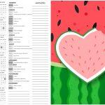 Calendario 2017 2 Melancia Personalizados para Imprimir