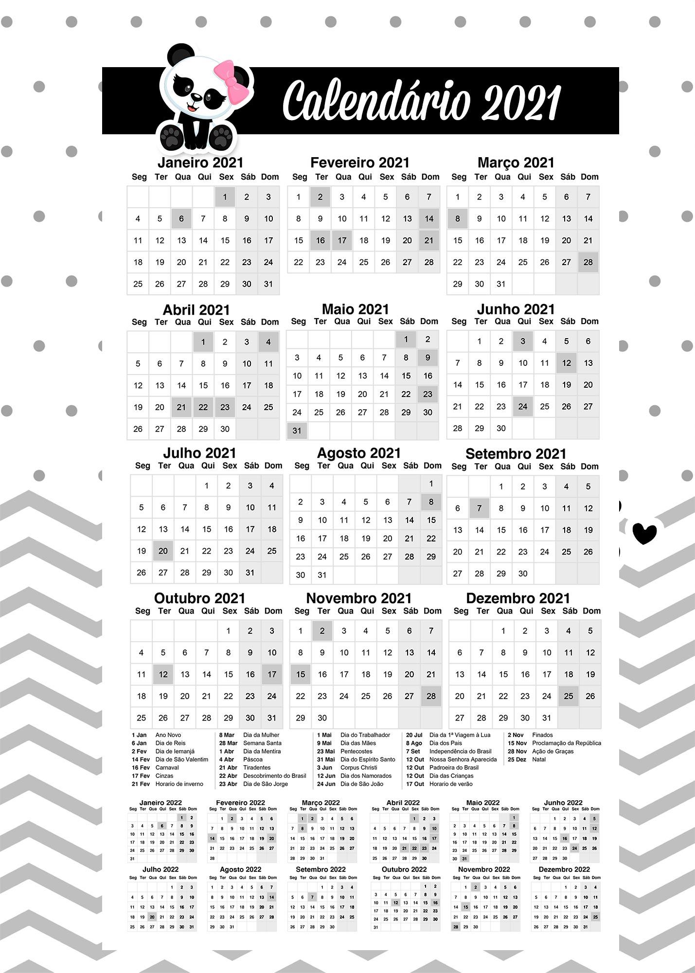 Calendario Professor Panda Rosa 2021
