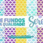 Kit Digital Sereia Fundos para Imprimir