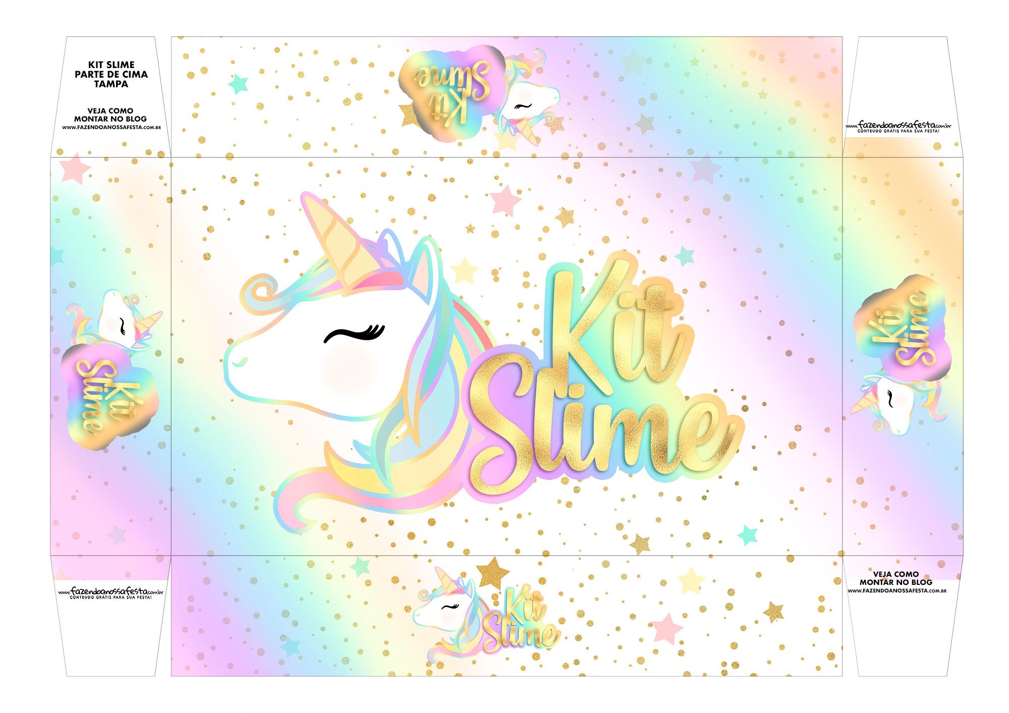 Letras Minegraft Fazendo A Nossa Festa: Lembrancinha Kit Slime Unicornio Tampa