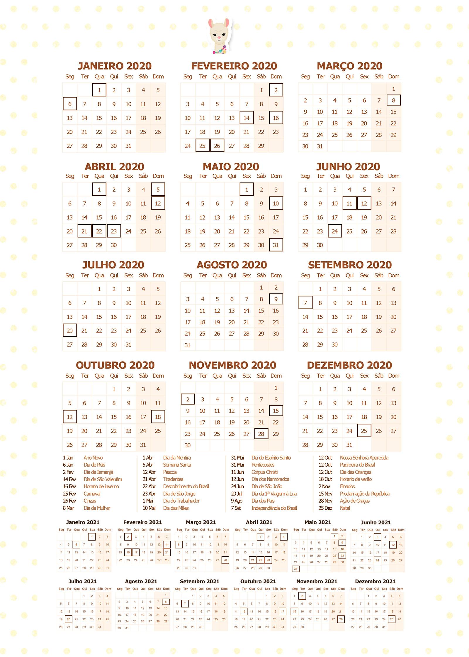 Planner 2020 Lhama Amarela Calendario