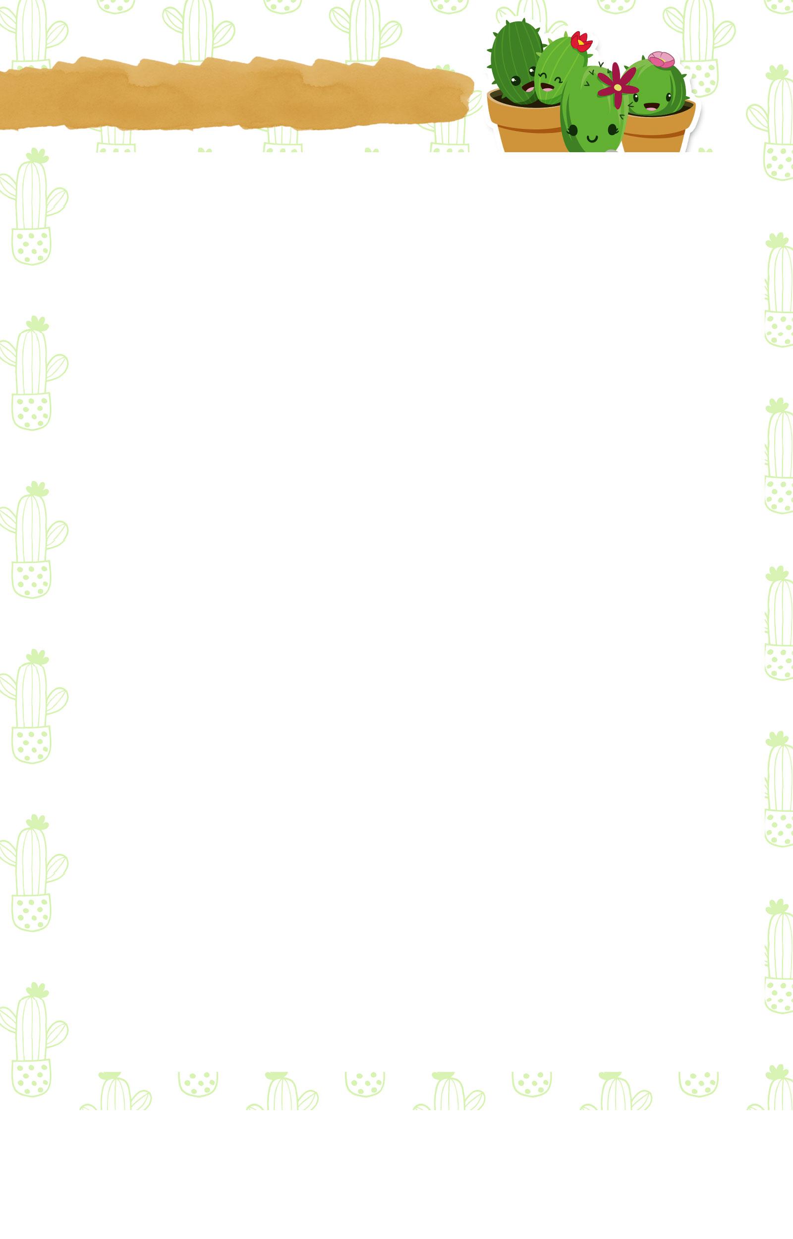 Planner Cactos 2019 folha limpa