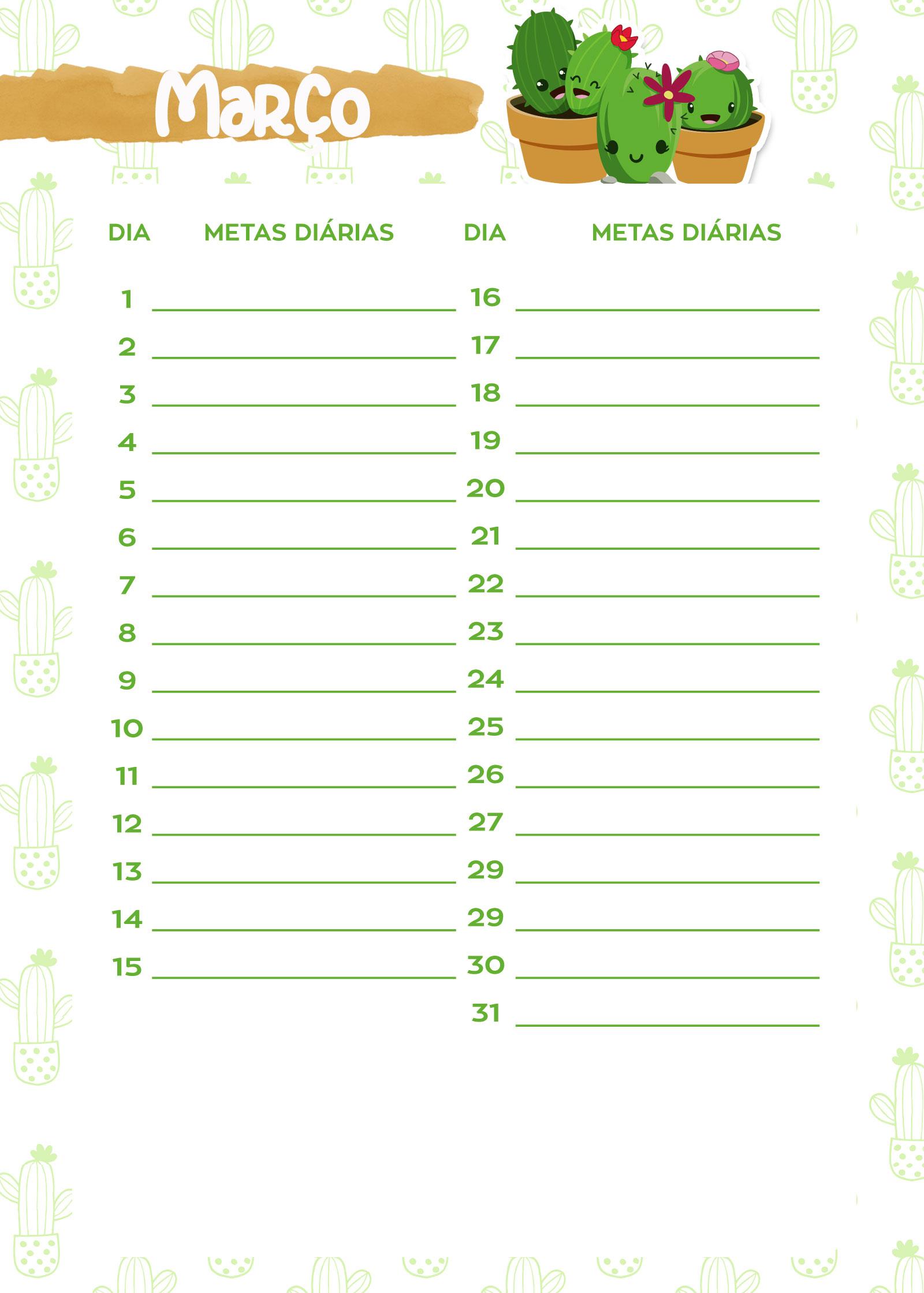 Planner Cactos 2019 metas marco