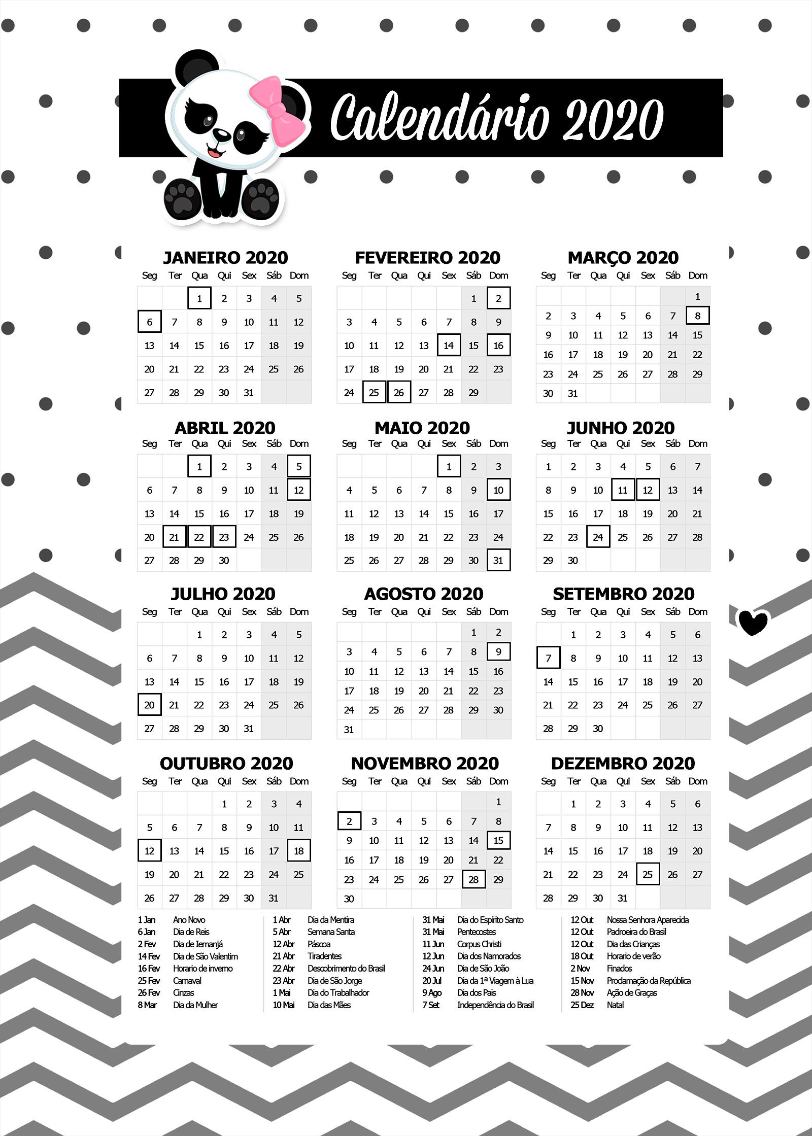 Planner Calendario 2020 Panda Rosa