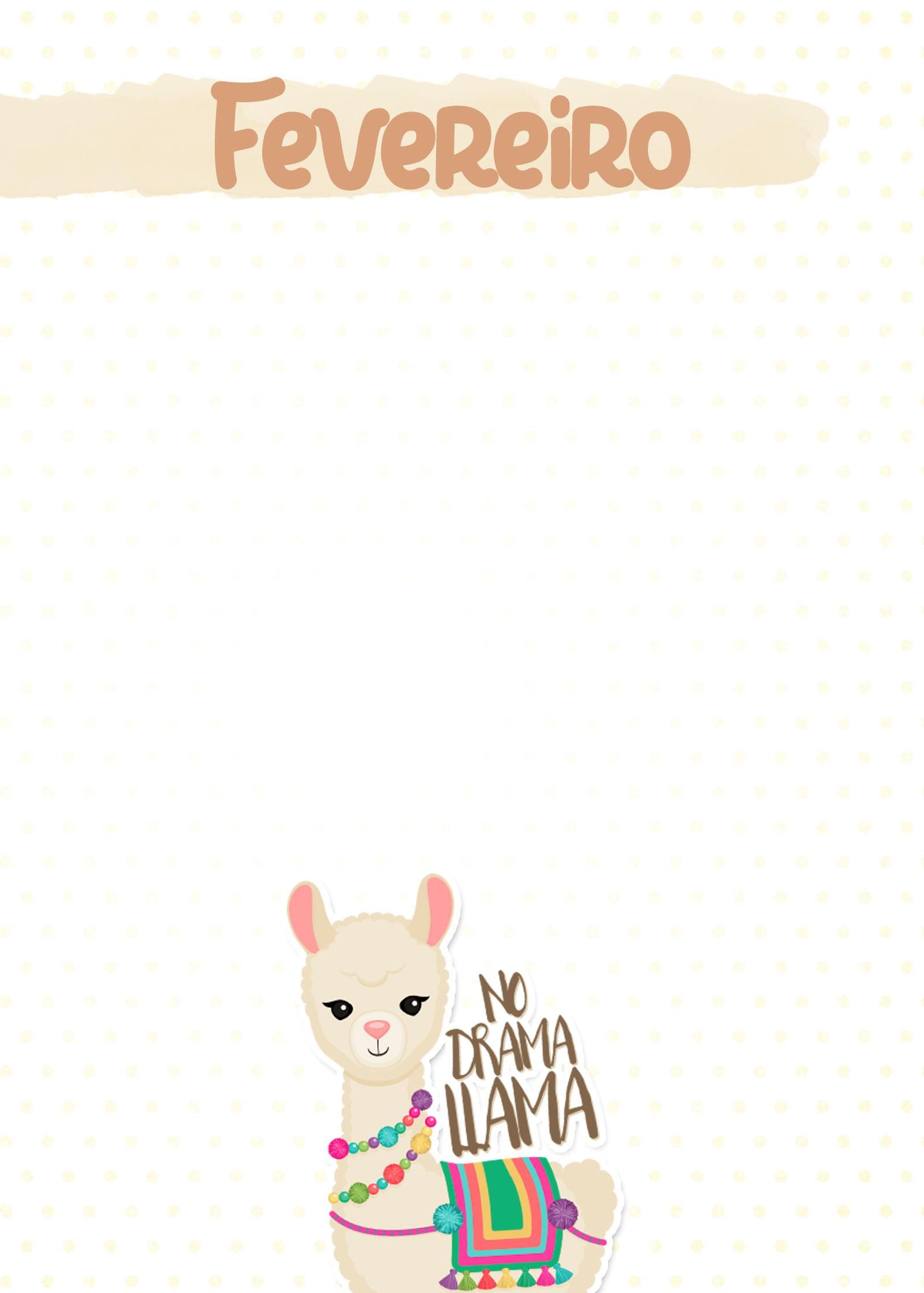 Planner Lhama Amarela capa fevereiro