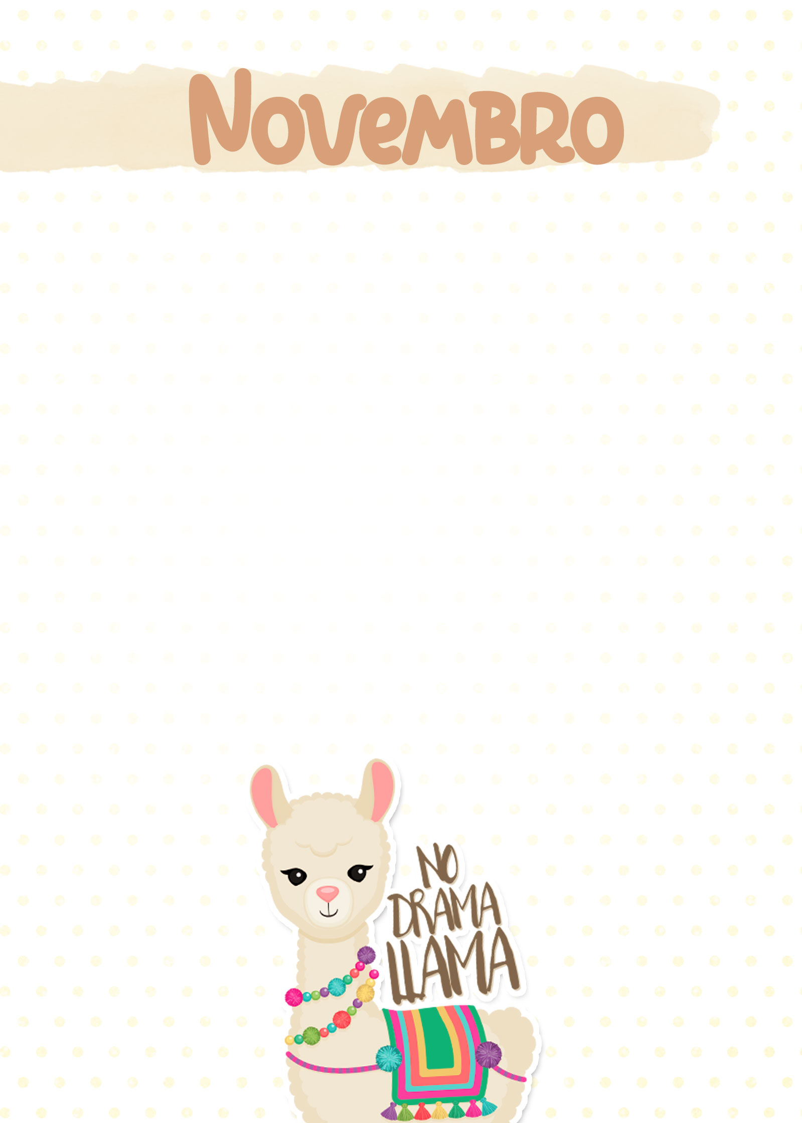 Planner Lhama Amarela capa novembro