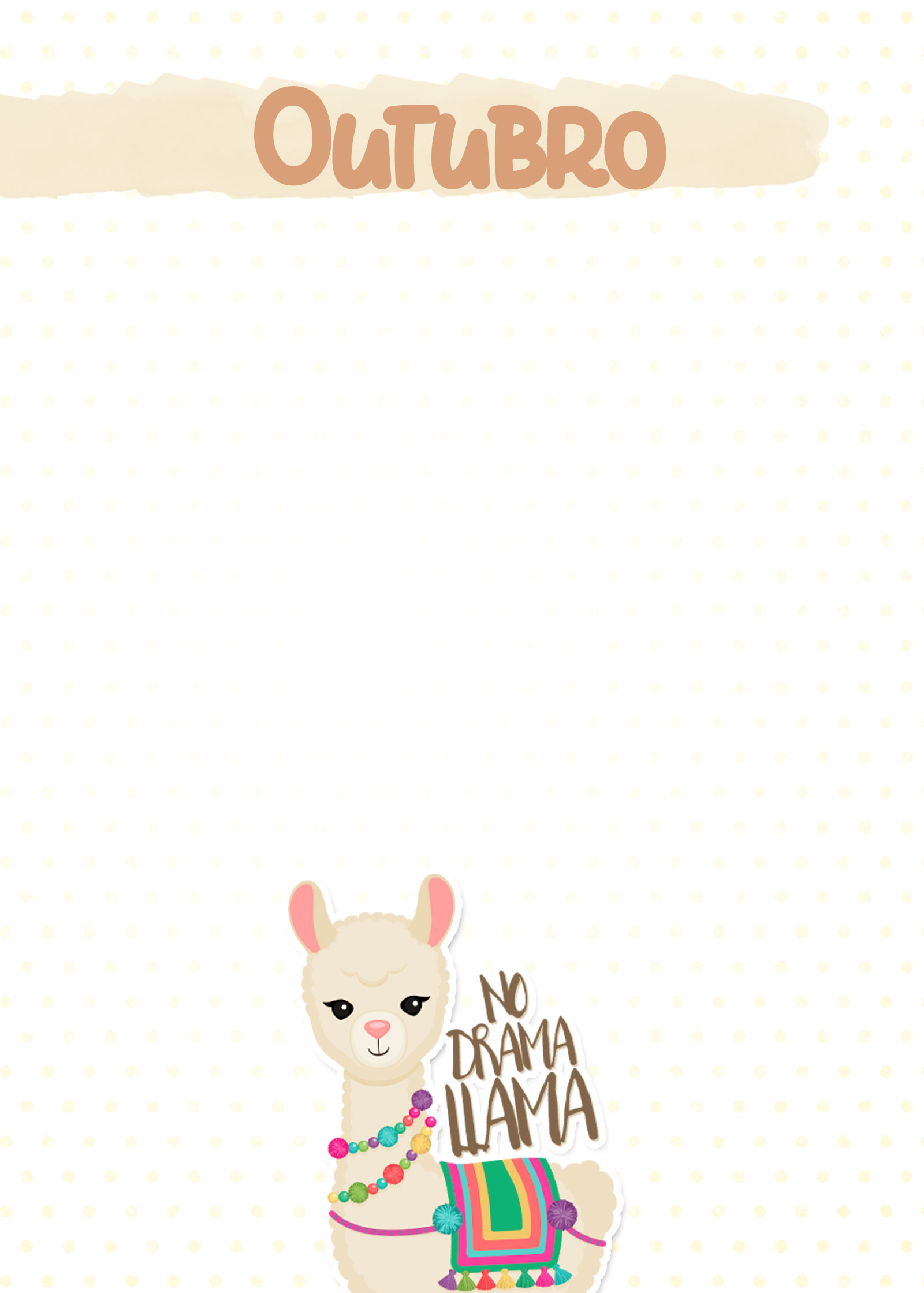 Planner Lhama Amarela capa outubro