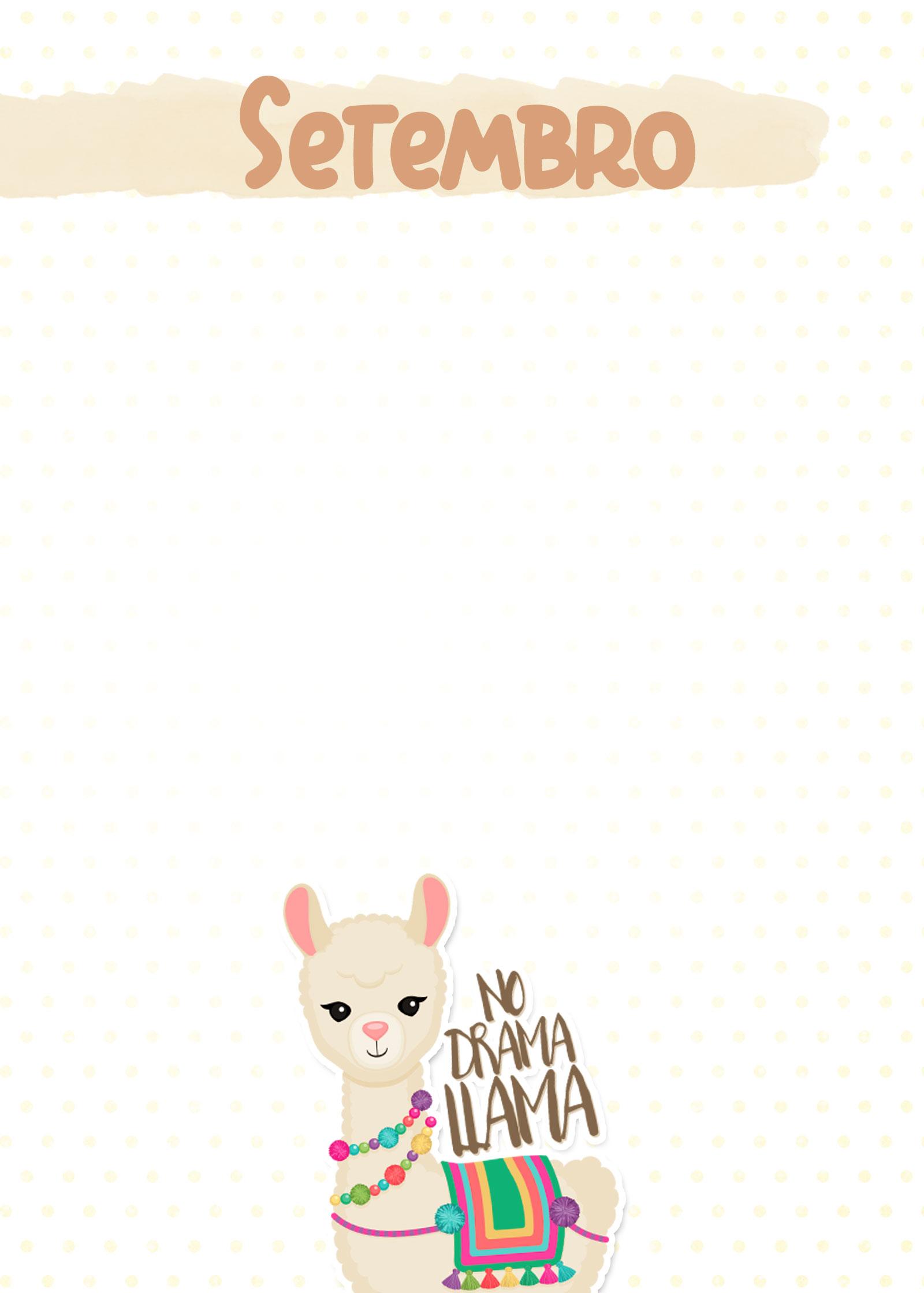 Planner Lhama Amarela capa setembro