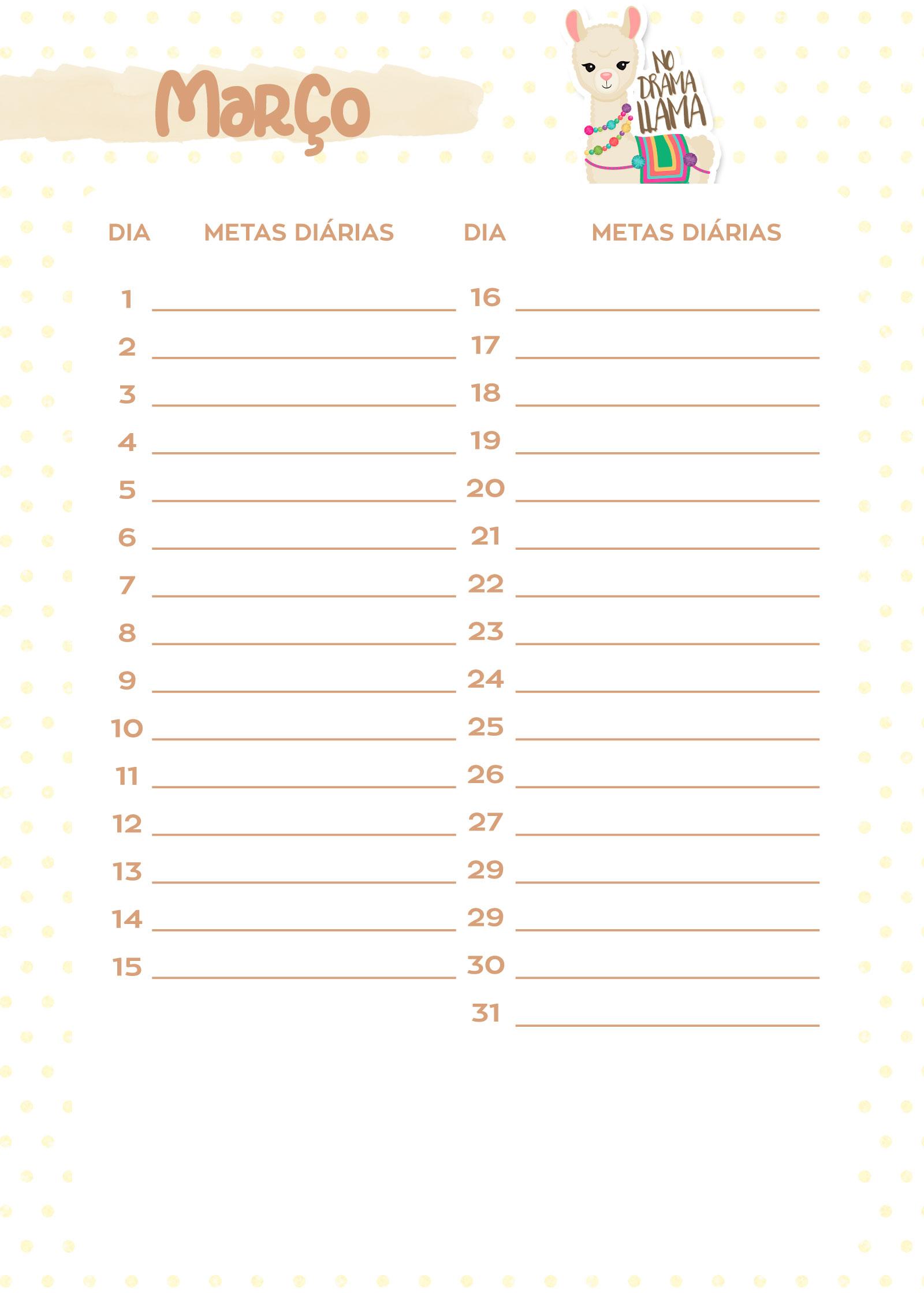 Planner Lhama Amarela metas marco