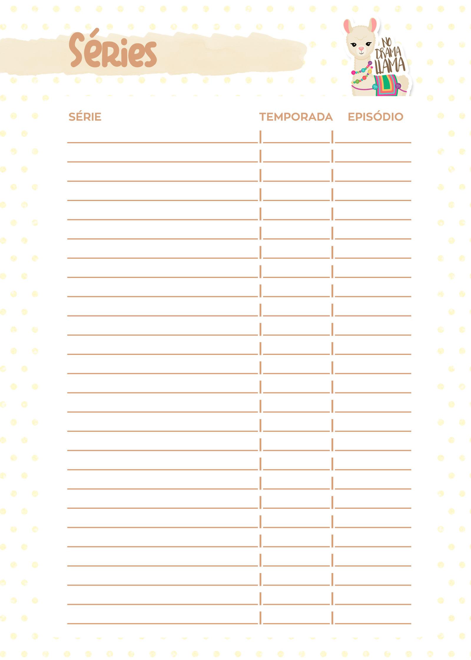 Planner Lhama Amarela series