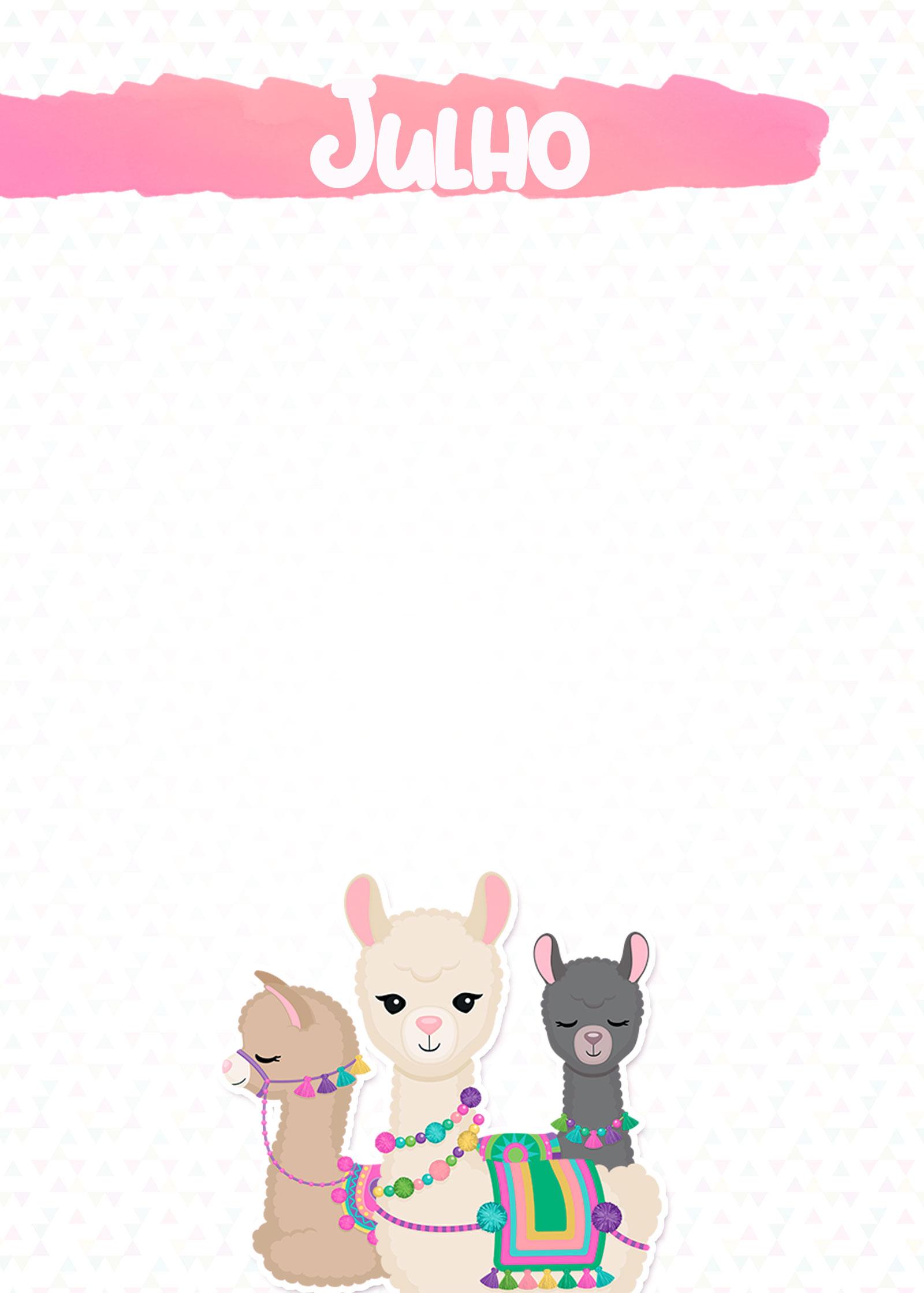 Planner Lhama Rosa 2020 capa julho