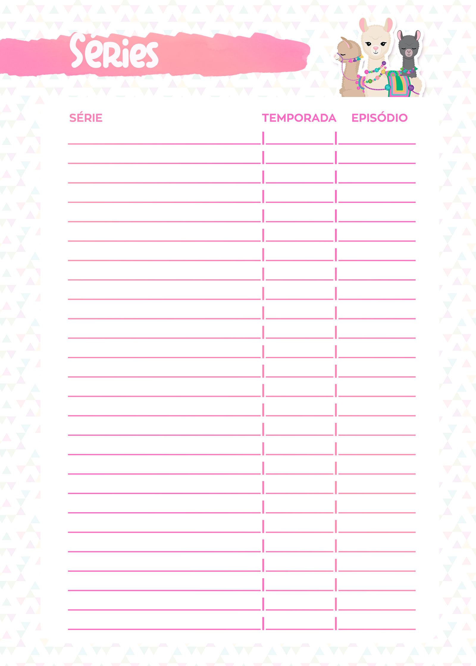 Planner Lhama Rosa 2019 series