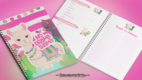 Planner Lhama Rosa 2019