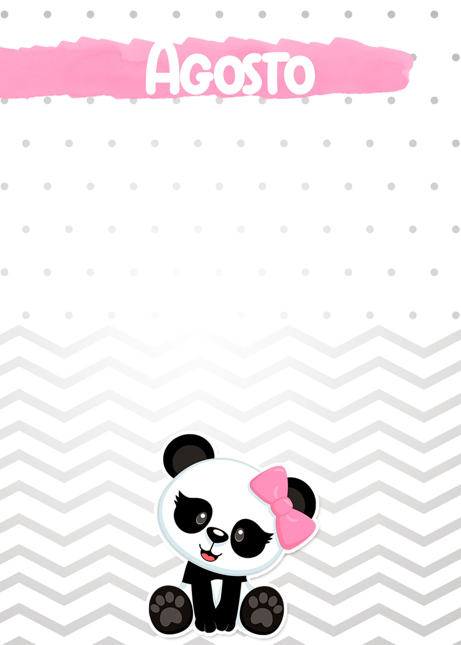 Planner Panda Rosa 2019 capa agosto