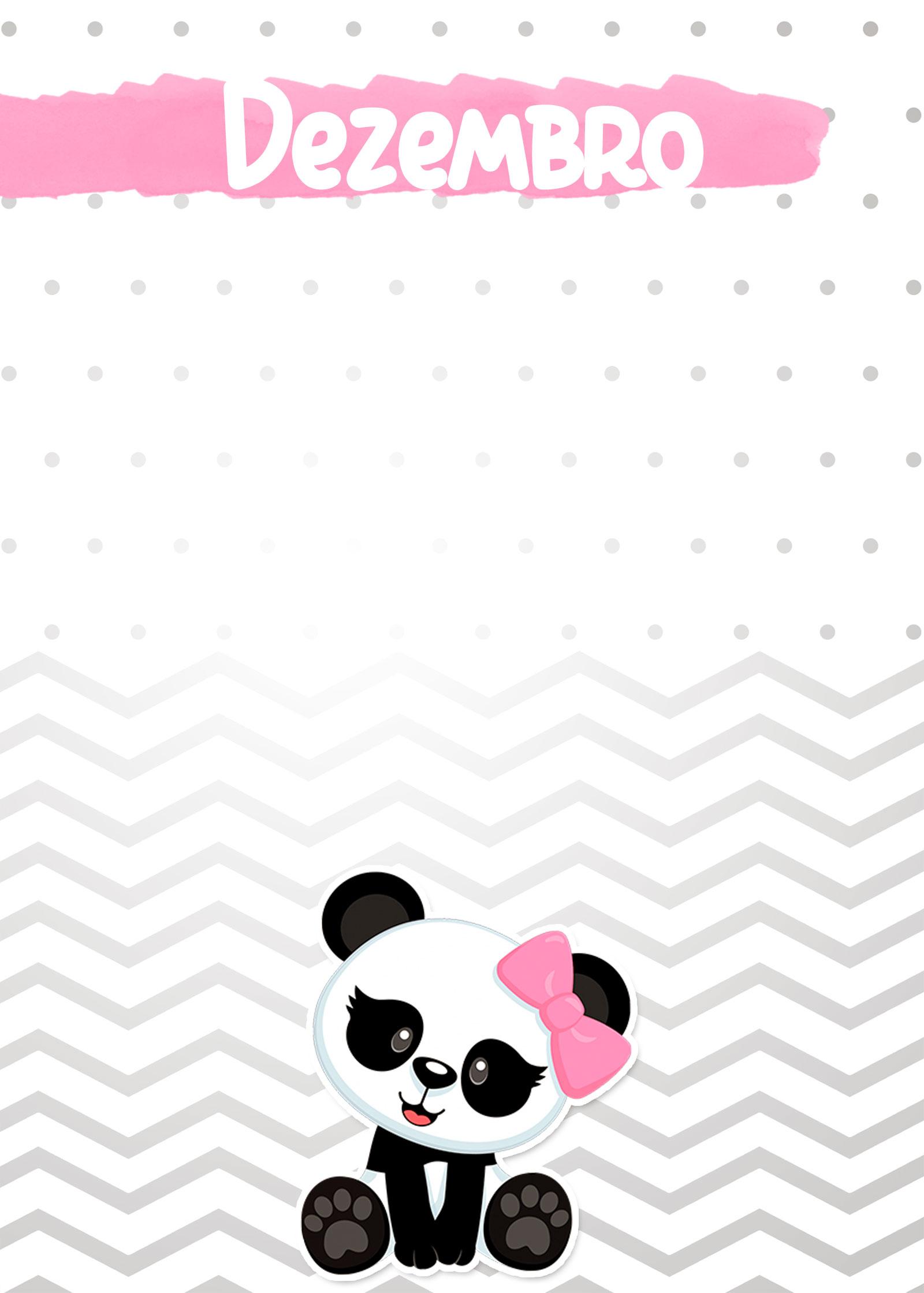 Planner Panda Rosa 2019 capa dezembro