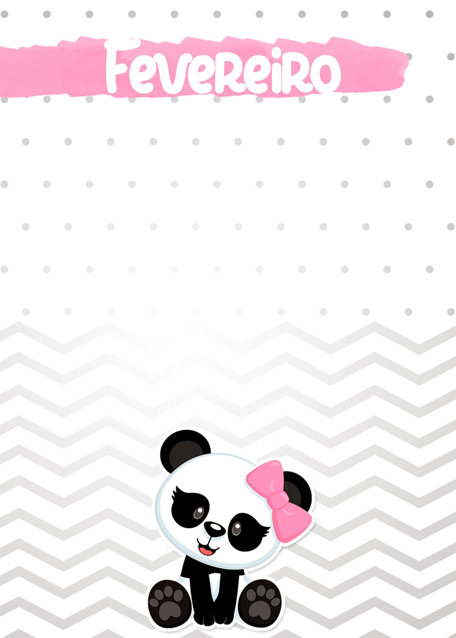 Planner Panda Rosa 2019 capa fevereiro
