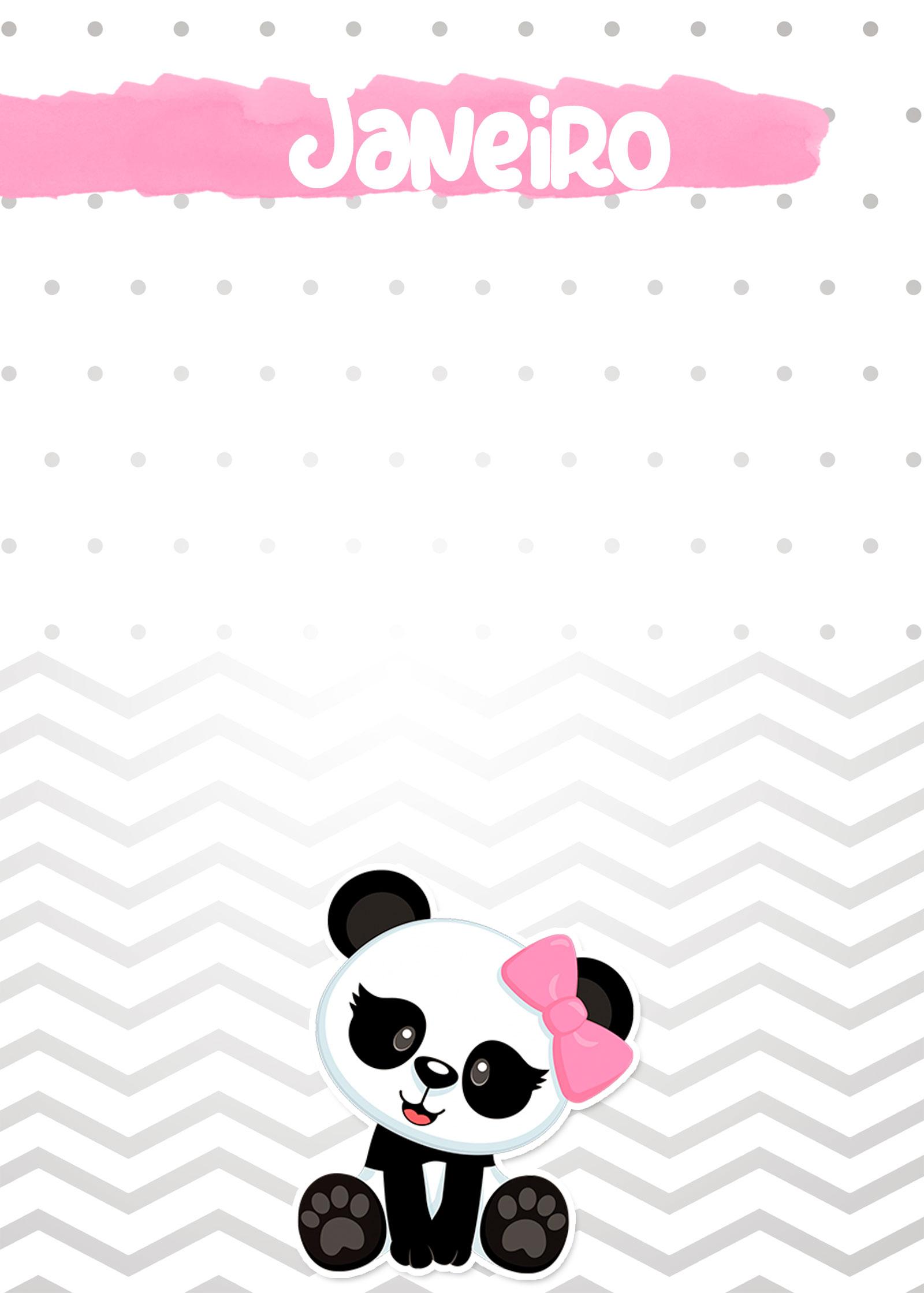 Planner Panda Rosa 2019 capa janeiro
