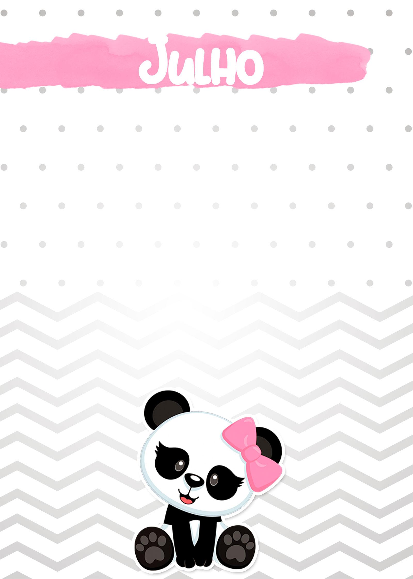 Planner Panda Rosa 2019 capa julho