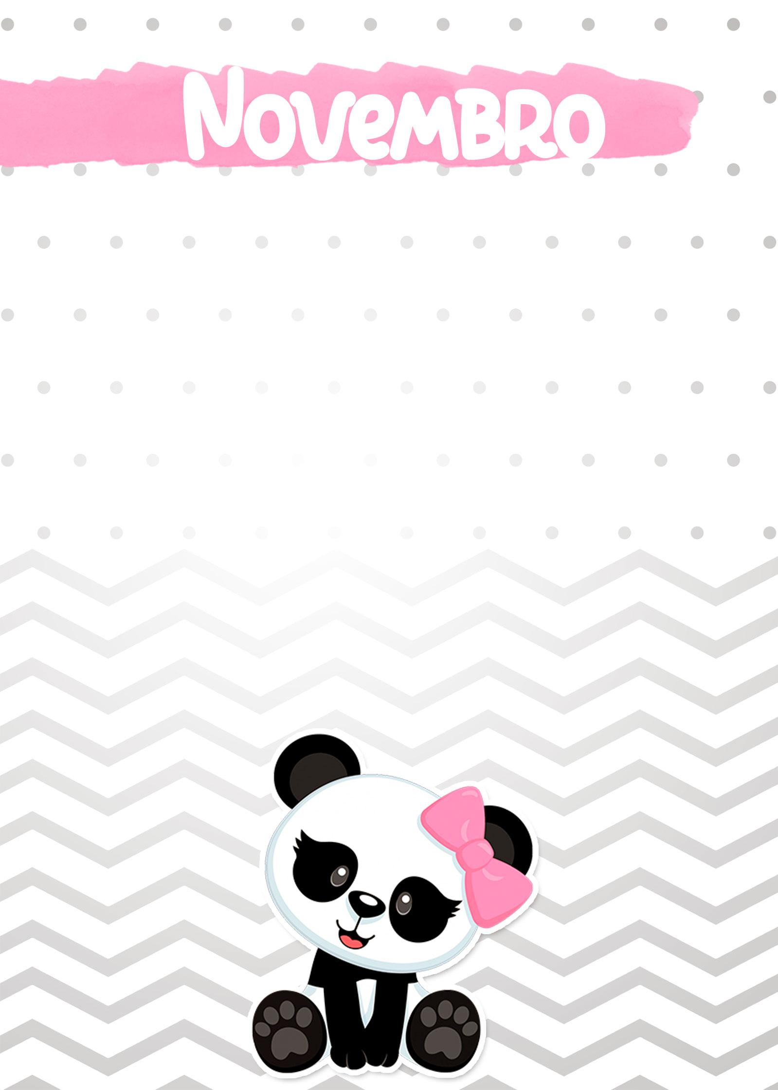 Planner Panda Rosa 2019 capa novembro
