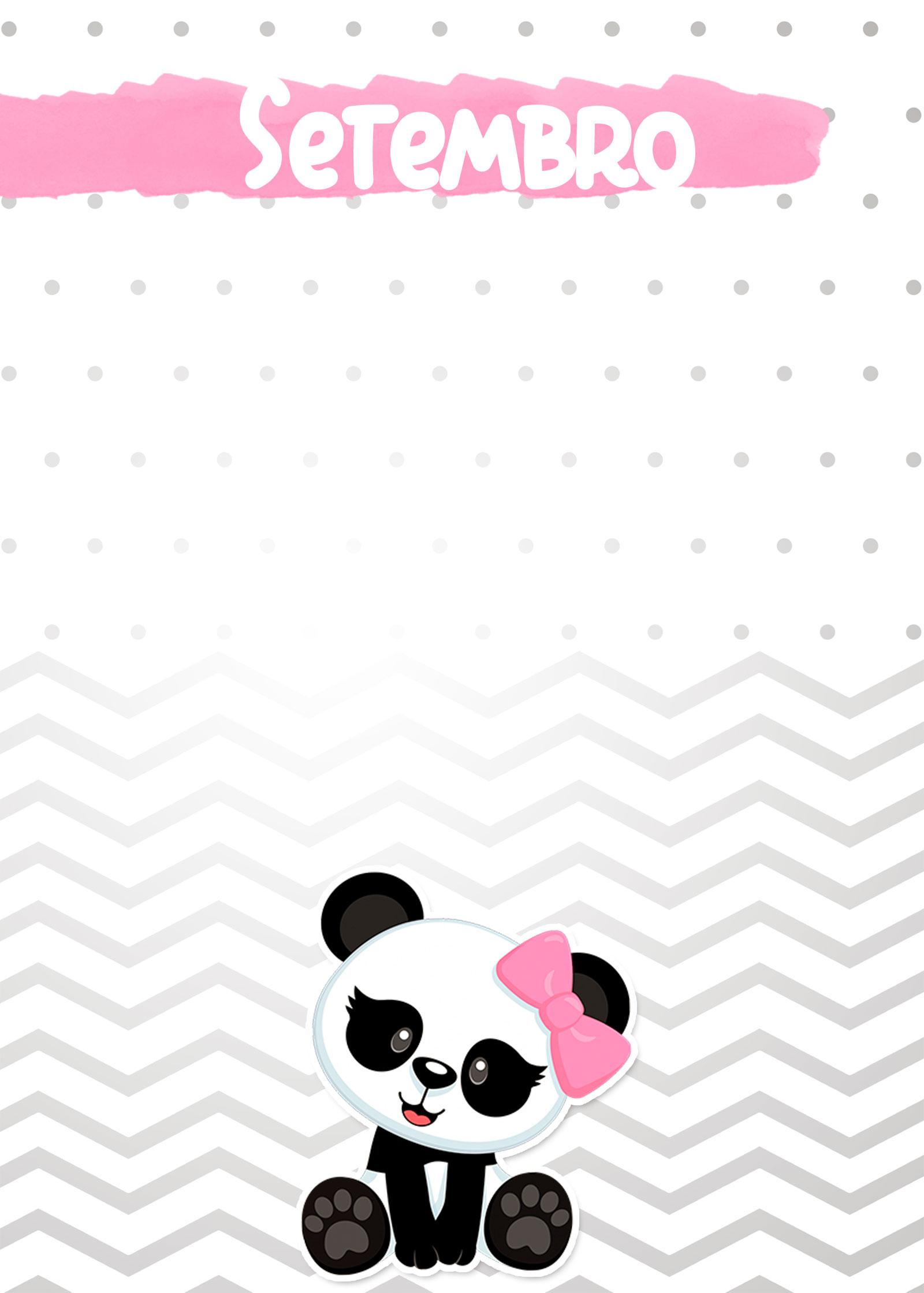 Planner Panda Rosa 2019 capa setembro