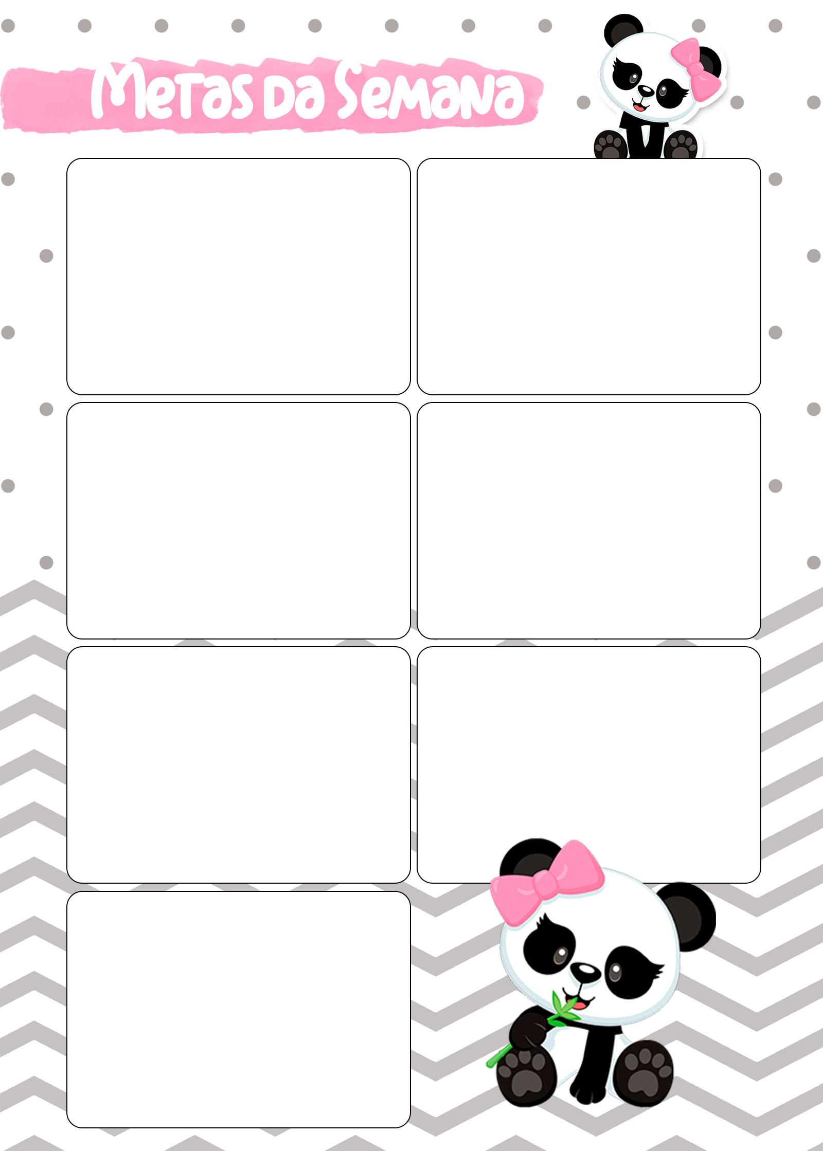 Planner Panda Rosa 2019 metas da semana