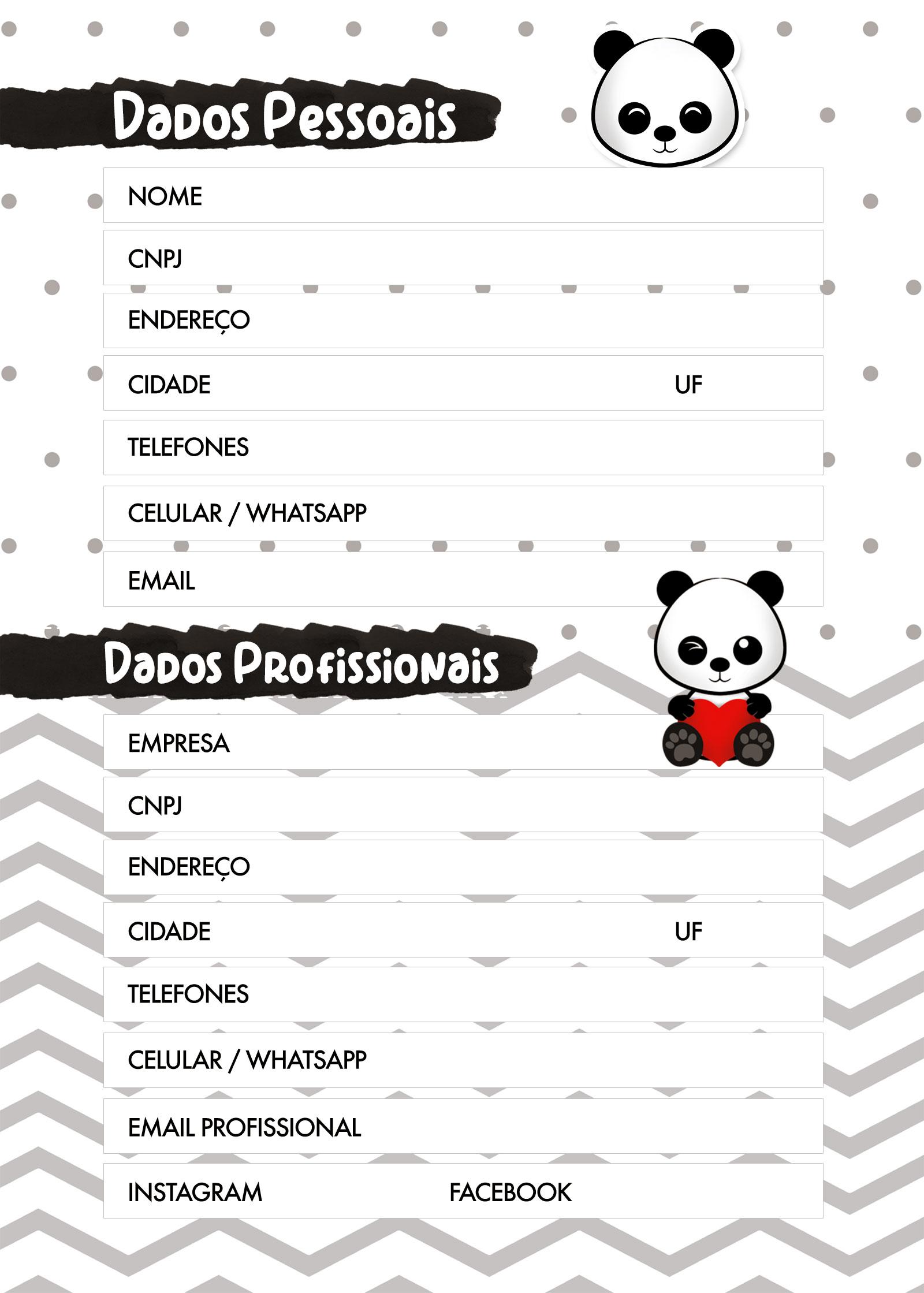 Planner Panda fofo 2020 dados pessoais