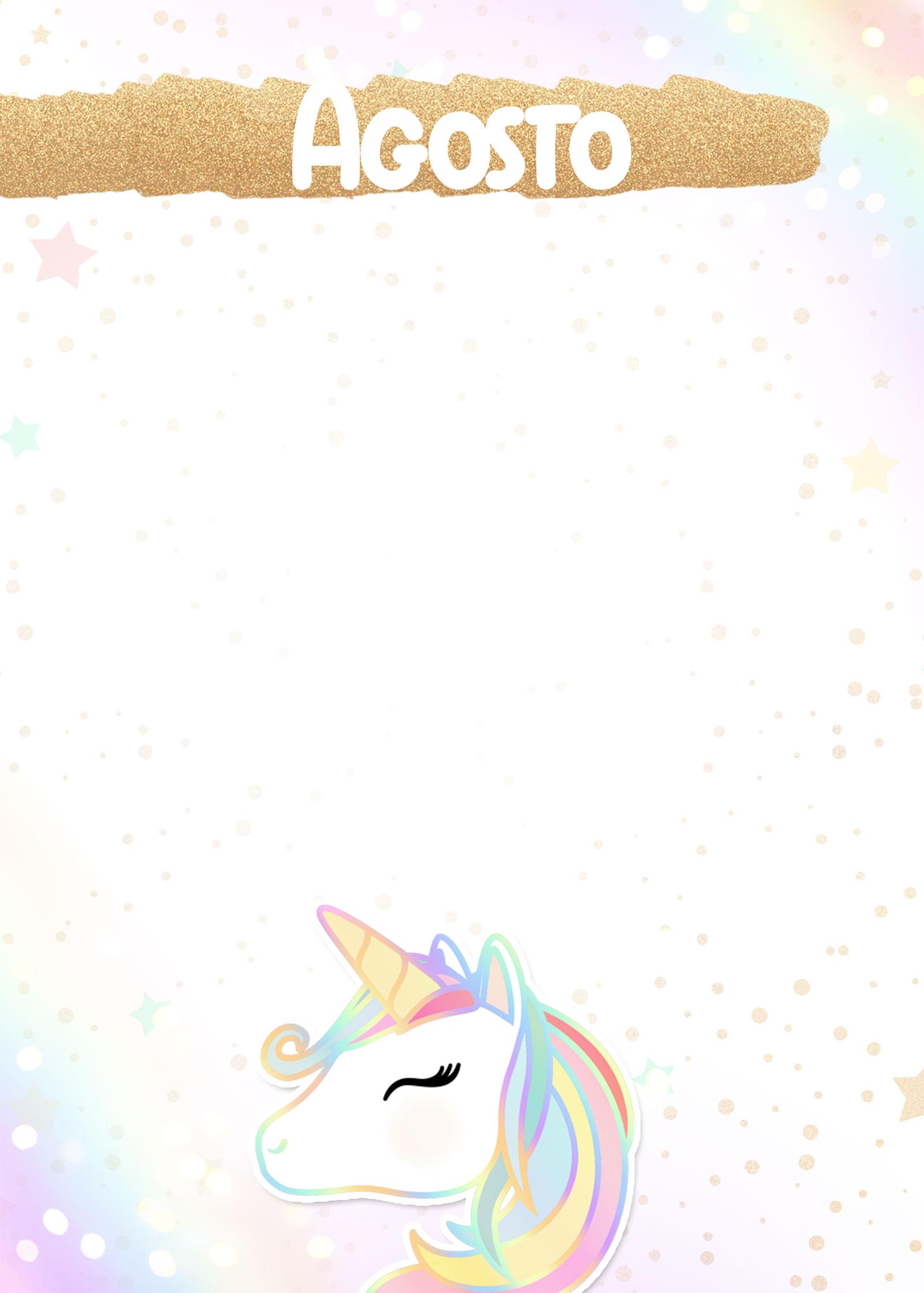 Planner Unicornio 2020 capa agosto