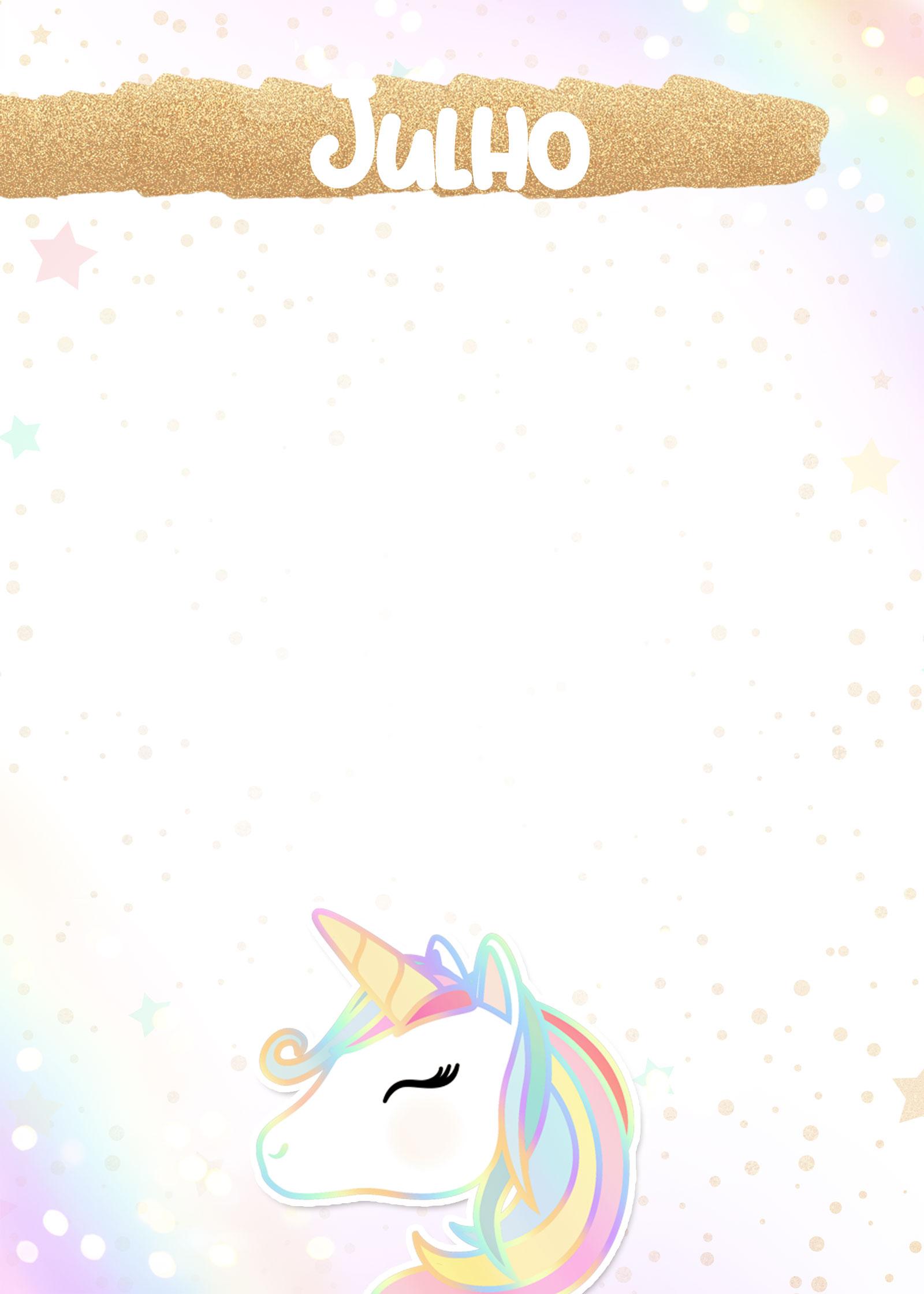Planner Unicornio 2019 capa julho