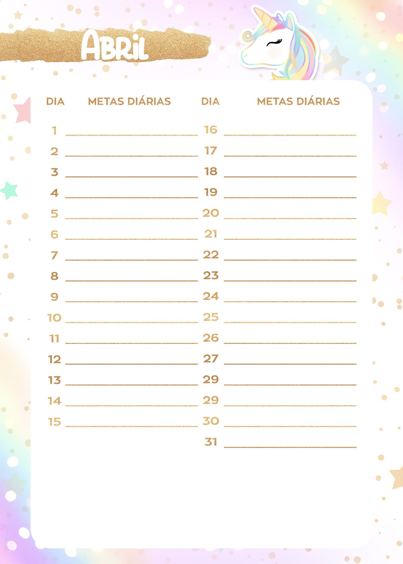 Planner Unicornio 2019 metas abril