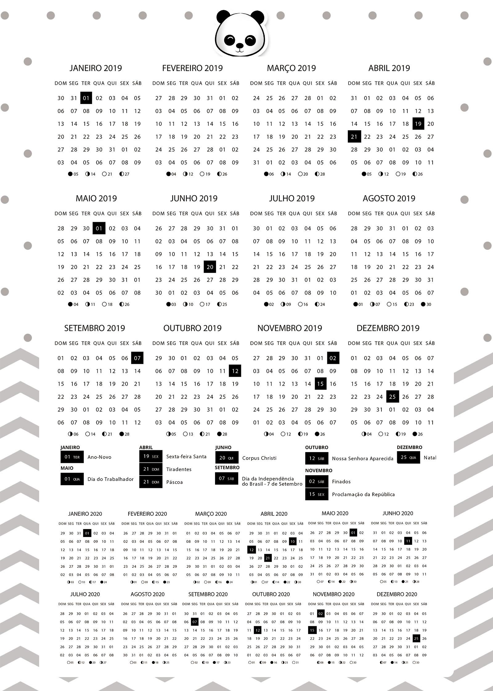 Calendario 2020 Com Feriados Para Impressao.Planner 2019 Panda Menino Calendario 2019 E 2020 Fazendo A