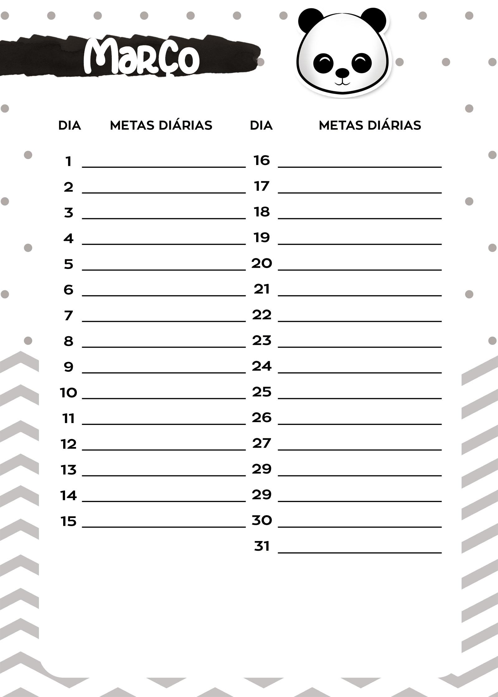 Planners 2019 Panda Menino metas marco