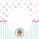 Bandeirinha Varalzinho Quadrada Cactos Rosa
