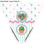 Caixa Piramide Cactos Rosa