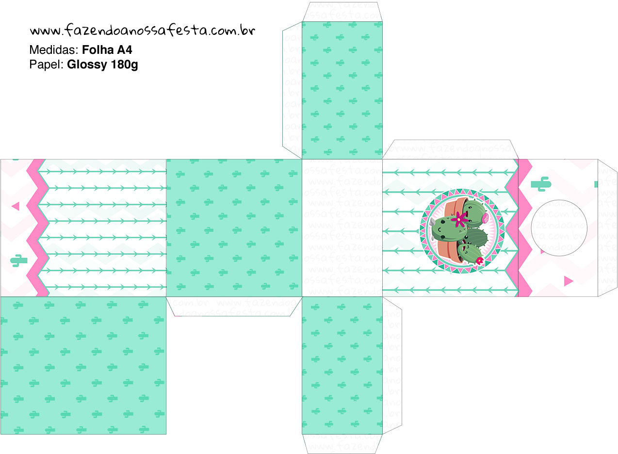 Caixa Tubete Cactos Rosa