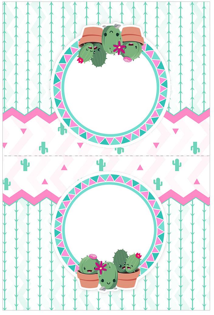 Cartao Agradecimento de mesa Cactos Rosa