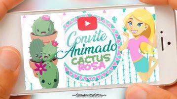 Convite Animado Cactos Rosa
