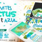 Convite Cactos Azul Grátis para Personalizar e Imprimir em Casa