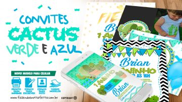 Convite Cactos Azul Gratis para Imprimir