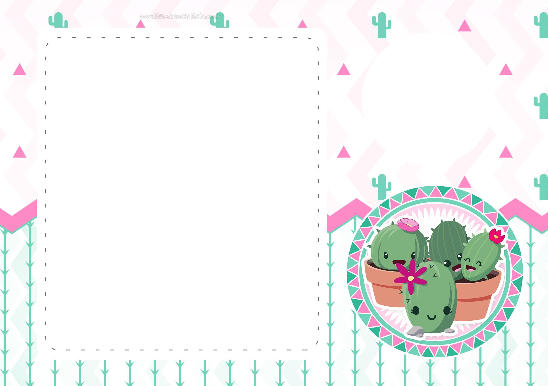 Convite Cactos Rosa 4