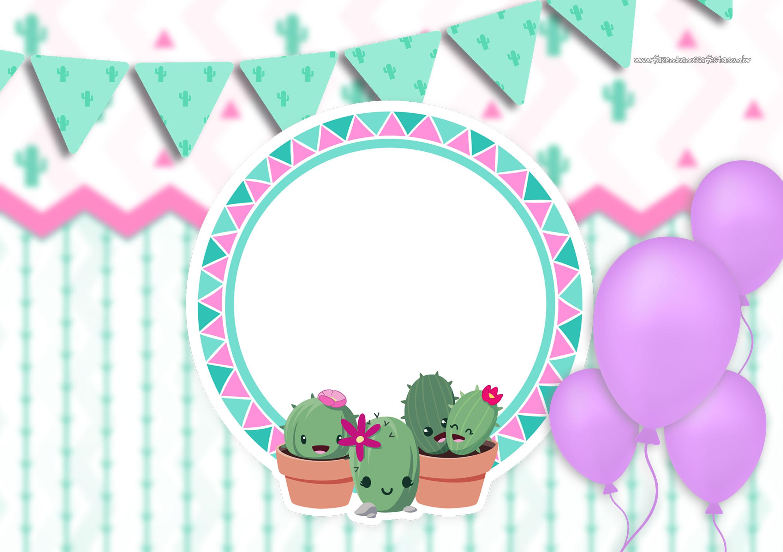 Convite Cactos Rosa 5