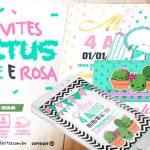 Convite Cactos Rosa Grátis para Personalizar e Imprimir em Casa