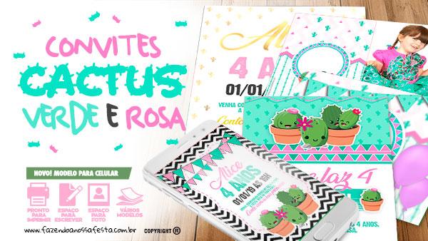 Convite Cactos Rosa Gratis para Imprimir