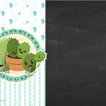 Convite Chalkboard Cactos Azul 3