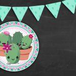 Convite Chalkboard Cactos Rosa 5