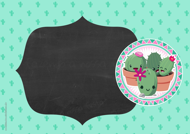 Convite Chalkboard Cactos Rosa 6