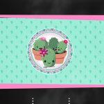 Convite Digital Chalkboard Cactos Rosa