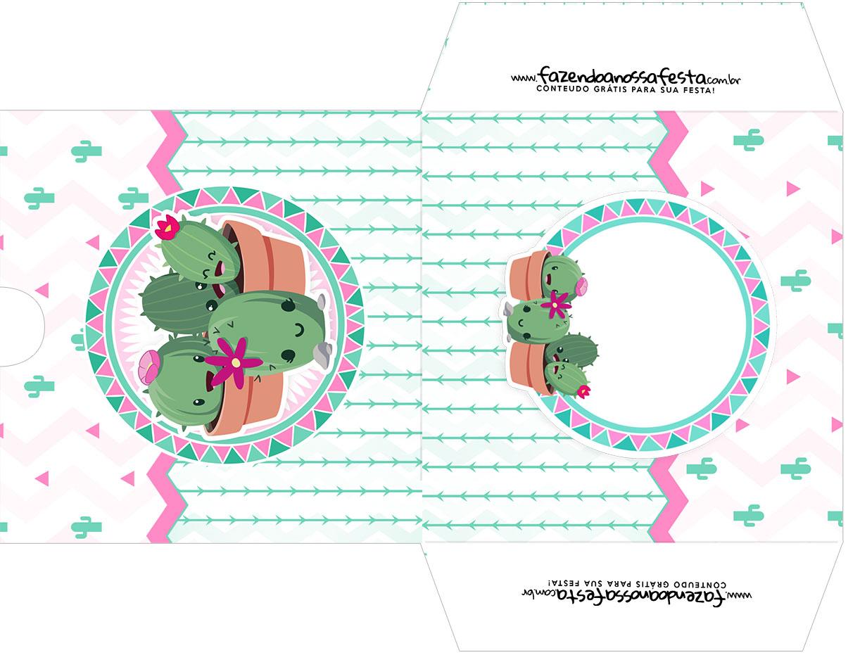 Envelope CD DVD Cactos Rosa